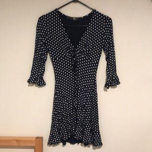 Missguided navy polka dot dress